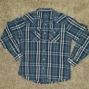Old Navy Blue Plaid Button Up Shirt Mens Large